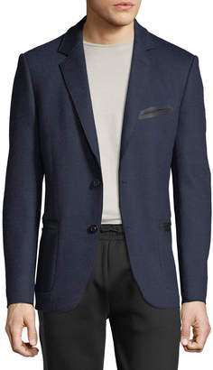 Karl Lagerfeld Paris Men's Knit Blazer w/ Tape Trim