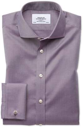 Charles Tyrwhitt Slim Fit Spread Collar Non-Iron Twill Dark Purple Cotton Dress Shirt Single Cuff Size 15.5/34