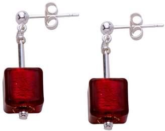 Valentina Genuine Murano Glass Red Cube Earrings of 2.9cm