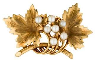 14K Pearl Accented Leaf Brooch