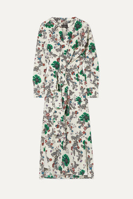 Isabel Marant Calypso Floral-print Silk-blend Crepe De Chine Wrap Dress - Ecru