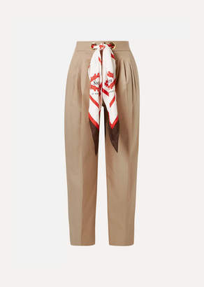 Burberry Silk-trimmed Pleated Cotton-twill Tapered Pants - Beige