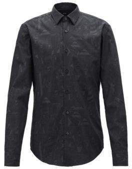 BOSS Hugo Limited-edition slim-fit shirt Jeremyville pattern XXL Black