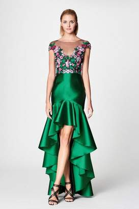 Marchesa Emerald Embroidered Details