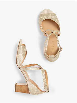 Talbots Gisela Cross-Strap Sandals - Metallic