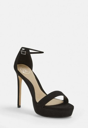 Missguided Black Faux Suede Simple Strap Platform Heeled Sandals
