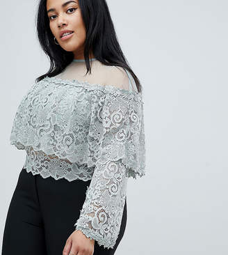 Club L Plus Crochet Sleeve Top with Mesh Upper