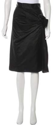 Sophie Theallet Satin Knee-Length Skirt Black Satin Knee-Length Skirt