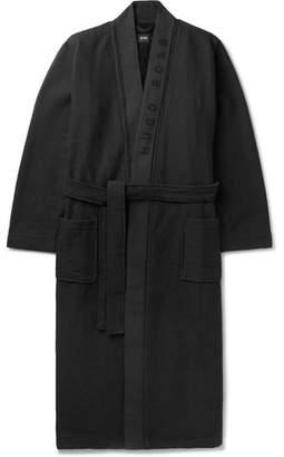 HUGO BOSS Waffle-knit Cotton-blend Robe - Black