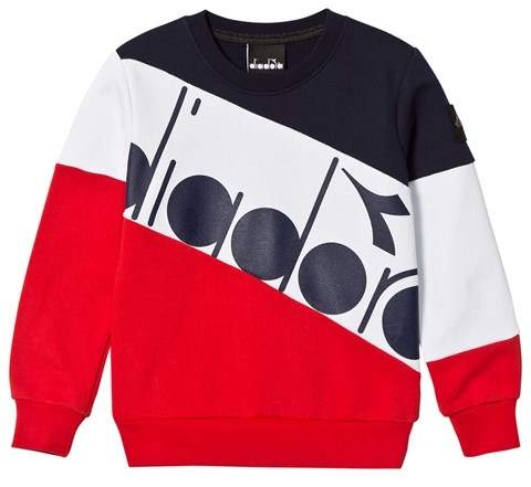 Navy, White and Red Branded Banner Sweater