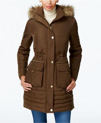 Kenneth Cole Faux-Fur-Trim Cinched Down Coat $245 thestylecure.com