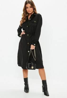 Missguided Black Tie Waist Utility Midi Shirt Dress