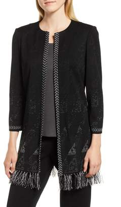 Ming Wang Fringe Knit Jacket