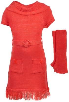 Dollhouse Big Girls' Sweater Dress with Arm Warmers - , 7-8