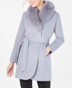 Forecaster Fox-Fur-Collar Belted Wrap Coat