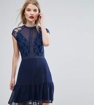 Elise Ryan Lace Contrast Mini Dress With Pep Hem
