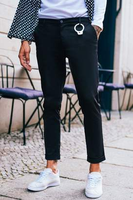 boohoo Black Tapered Fit Chino With Stretch