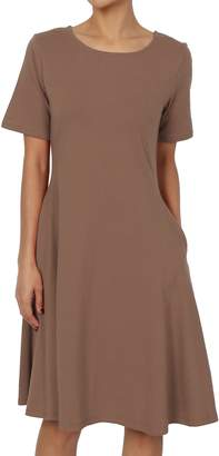 Ash TheMogan Women's Short Sleeve Pocket Stretch Cotton Fit & Flare Dress Hot Pink L