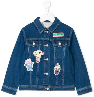 Kenzo patch embroidered denim jacket