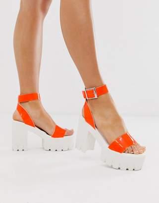 Asos Design DESIGN Noticeable chunky platform heeled sandals in neon orange