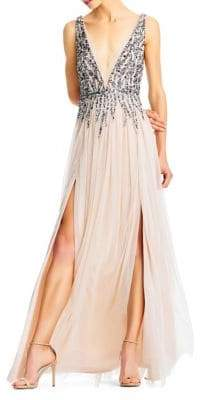 Aidan Mattox Sleeveless Beaded Mesh Gown