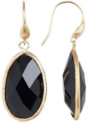 Rivka Friedman 18K Gold Clad Satin Onyx Teardrop Earrings