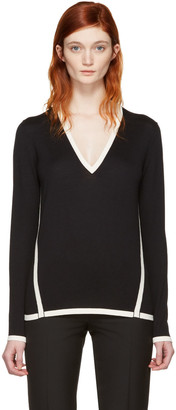 Lanvin Black Wool Contrast Pullover $935 thestylecure.com