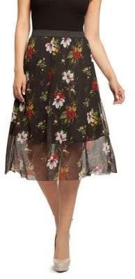Dex Pull-On Printed Mesh Skirt
