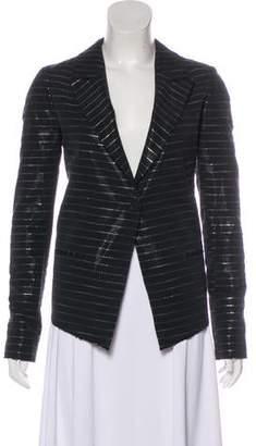 RtA Denim Notch-Lapel Striped Blazer