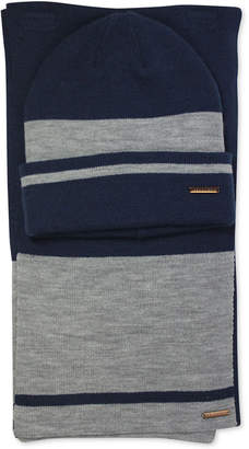 Sean John Men Striped Cuffed Beanie   Scarf Set ed37bc879a0f