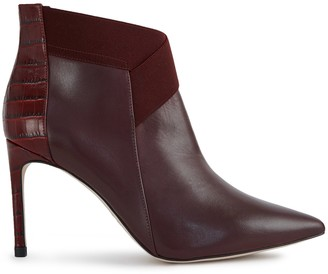 Reiss Belinda - Point Toe Heeled Ankle Boots in Berry