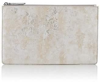 Barneys New York Large Brushstroke-Print Leather Zip Pouch