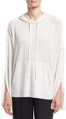 Robert Rodriguez Merino Wool Button-Sleeve Pullover Hoodie, Ivory