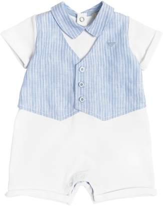 Armani Junior Cotton Jersey & Linen Romper & Bib