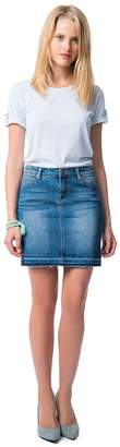 Best Mountain Denim Pencil Skirt with Frayed Hem