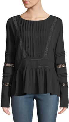 Lumie Lace-Trim Pleated-Front Peplum Blouse, Black