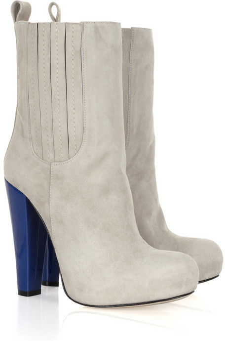 Carven Contrast heel suede ankle boots