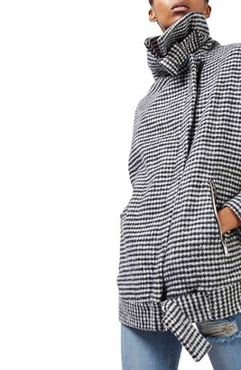 Women's Topshop Funnel Neck Houndstooth Coat $160 thestylecure.com