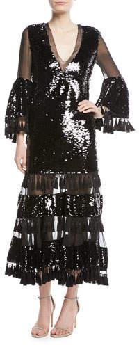 Sachin + Babi Galata V-Neck Tassel Cocktail Dress w/ Sequins