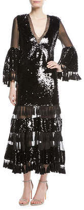Sachin + Babi Galata V-Neck Tassel Cocktail Dress w/ Sequins