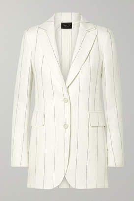 Akris Abiqui Pinstriped Herringbone Linen Blazer - Off-white