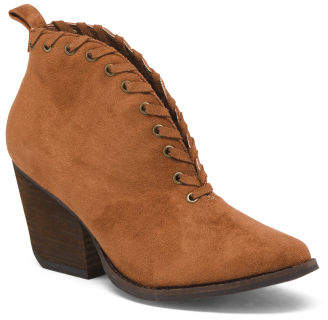Almond Toe Stacked Heel Ankle Booties