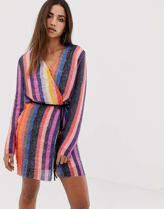 Club L London wrap striped sequin mini dress