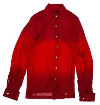 Gucci 1995 French Cuff Sheer Silk Shirt