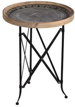 World Menagerie Francky Classic Vintage Wood and Metal Round Tray Table World Menagerie