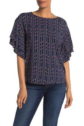 Bobeau Patterned Short Bell Sleeve Top