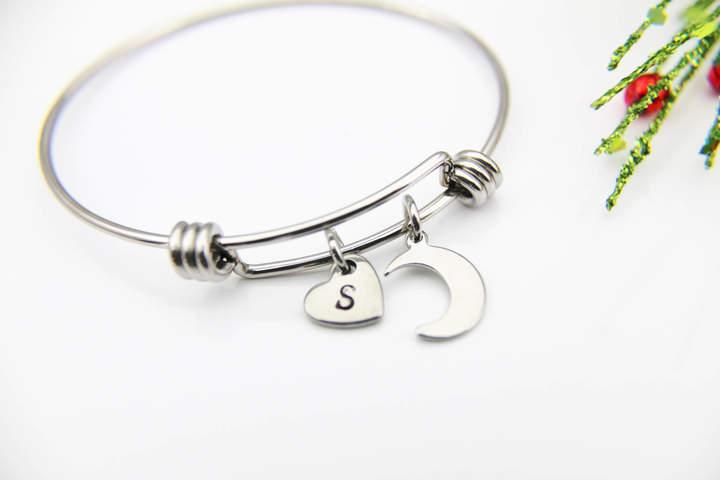 Etsy Eclipse Bracelet, Celestial Bracelet, Crescent Moon Bracelet, Moon Bangle, Personalized Gift, Best F