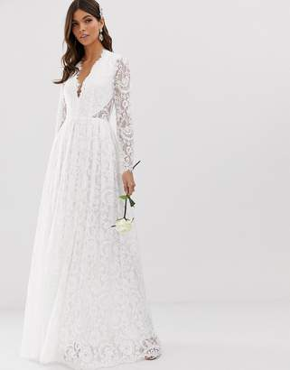 Asos Edition EDITION v neck lace wedding dress