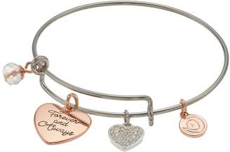 """Love This Life love this life Two Tone """"Forever and Always"""" Charm Bangle Bracelet"""