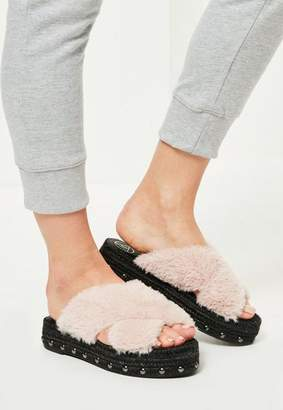 Missguided Pink Faux Fur Cross Strap Studded Sliders